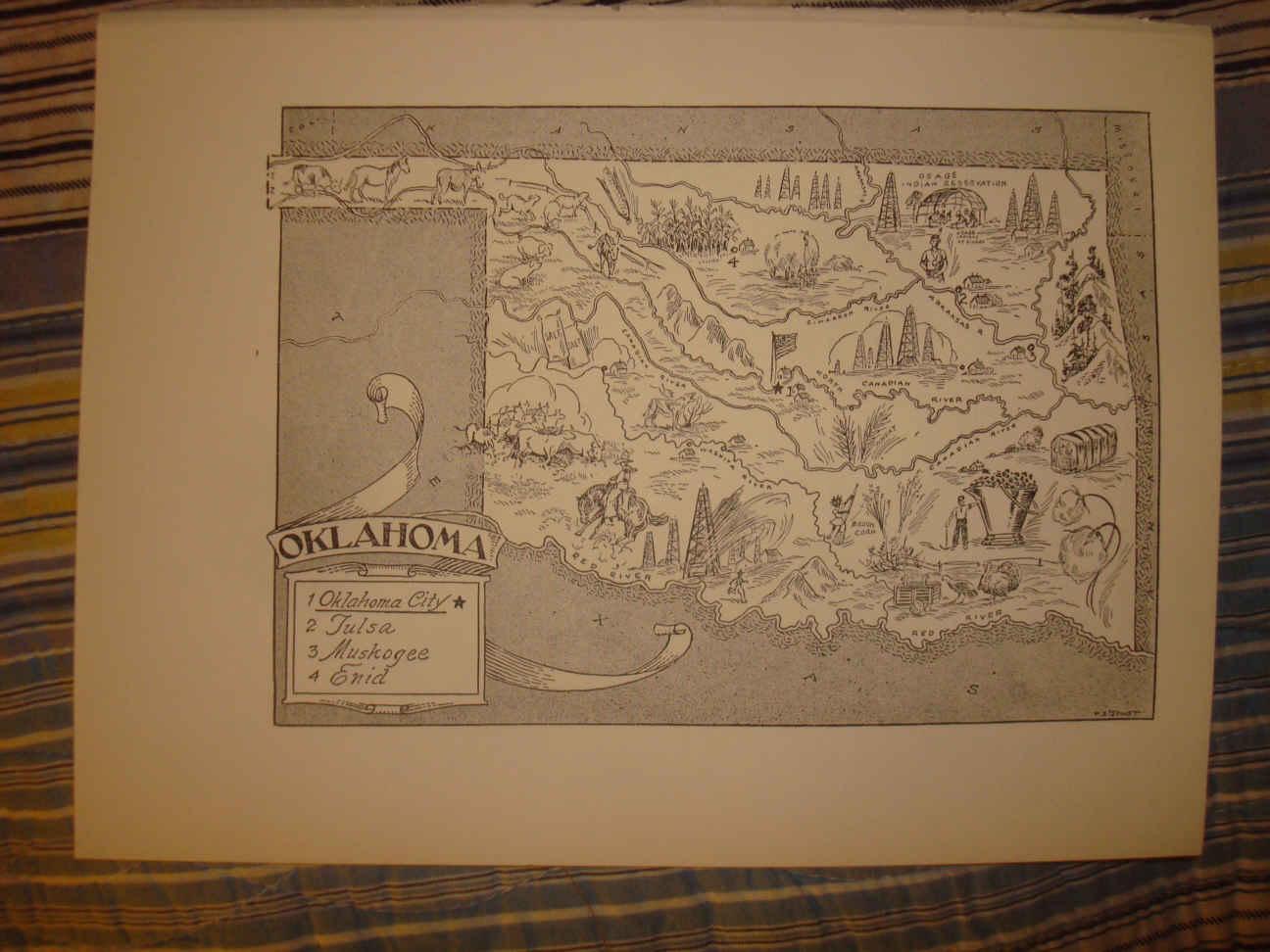 1892 OK MAP OKLAHOMA McINTOSH MAJOR MARSHALL MAYES MURRAY MUSKOGEE NOBLE NOWATA