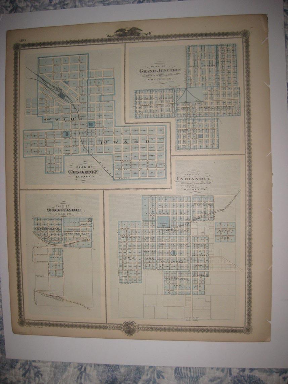 Warren County Iowa Map.Antique Warren County Iowa Chariton Indianola Grand Junction
