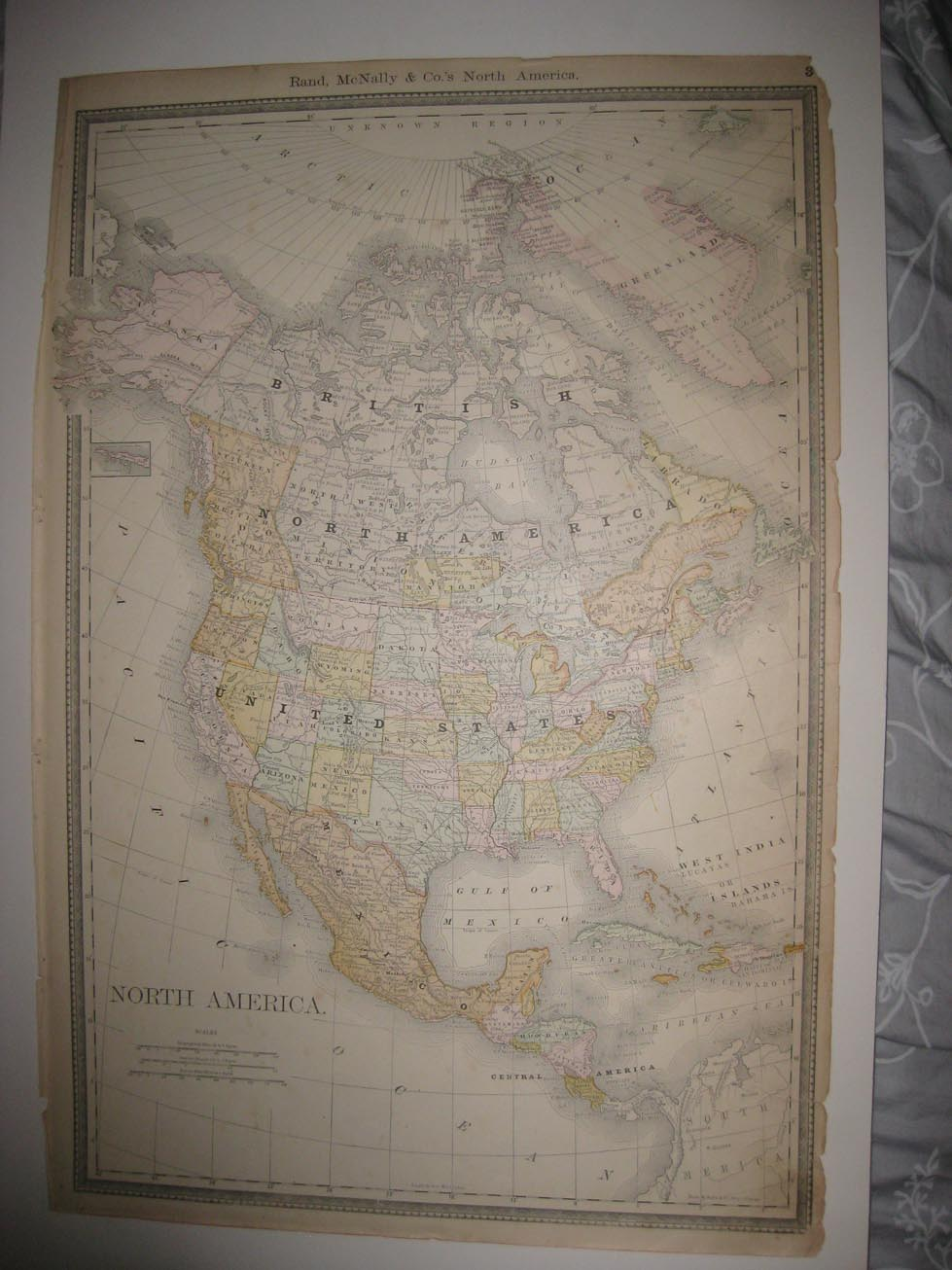LARGE VINTAGE ANTIQUE 1889 NORTH AMERICA UNITED STATES ...
