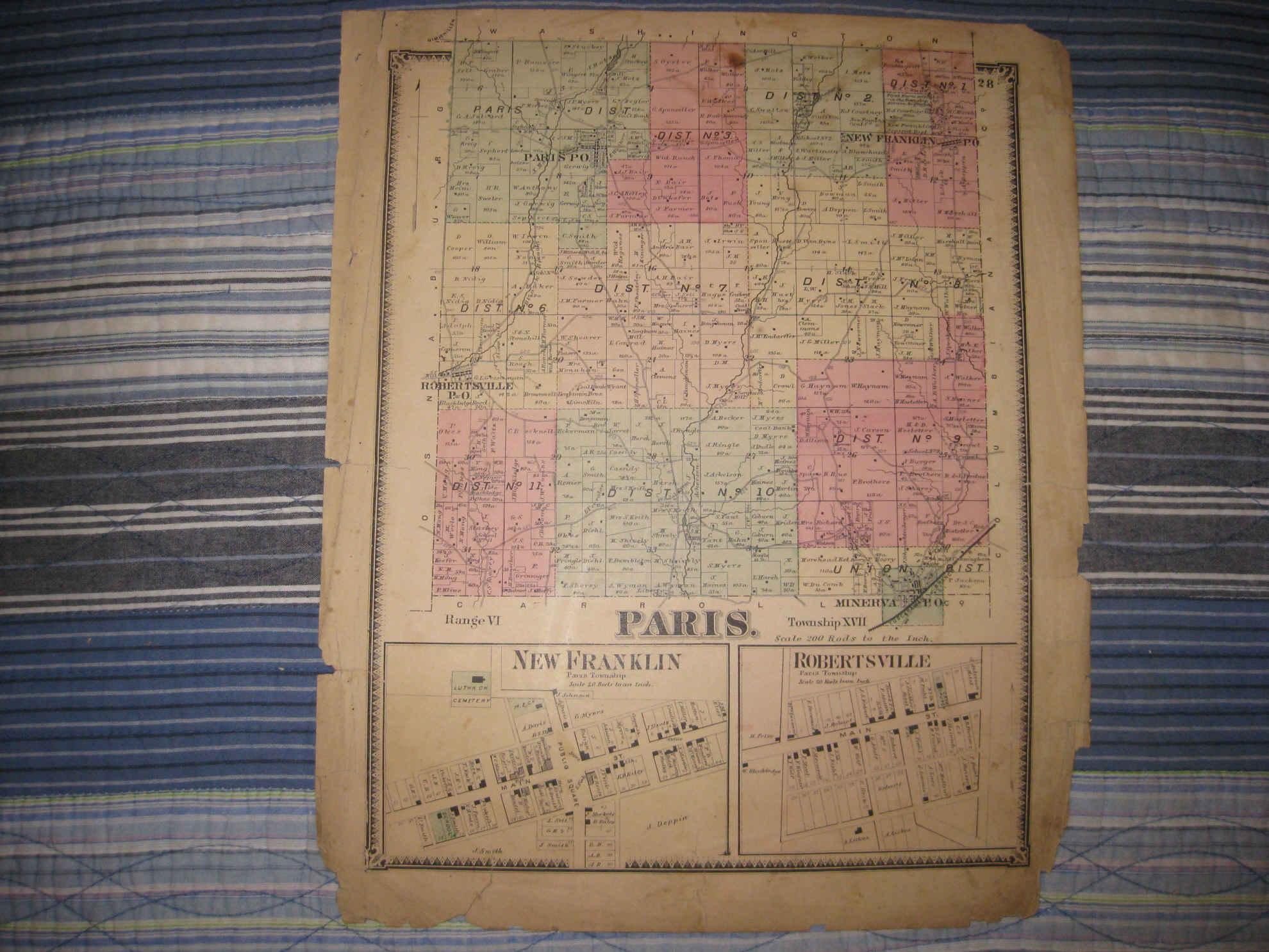 New Paris Ohio Map.Antique 1870 Paris Township Minerva New Franklin Stark County Ohio