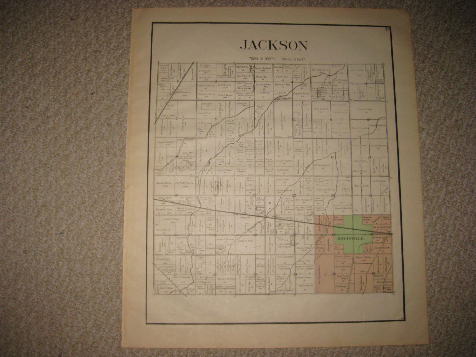 Antique 1912 Jackson Township Hoytville Wood County Ohio Map