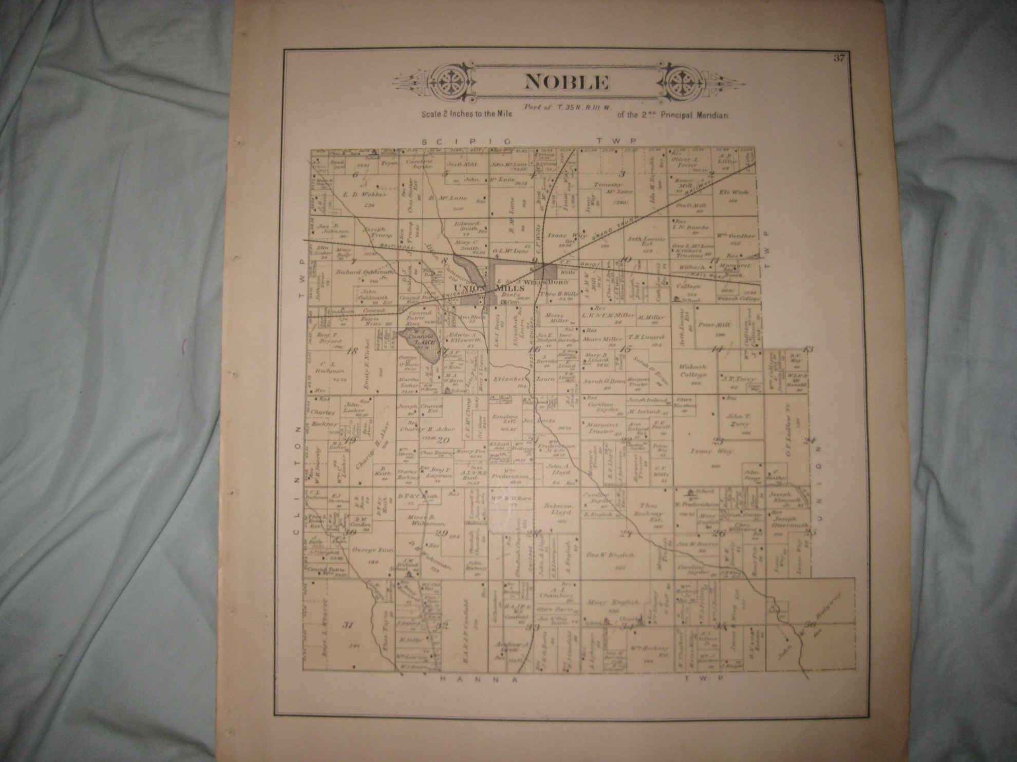 Antique 1892 Noble Township Wellsboro Laporte County Indiana
