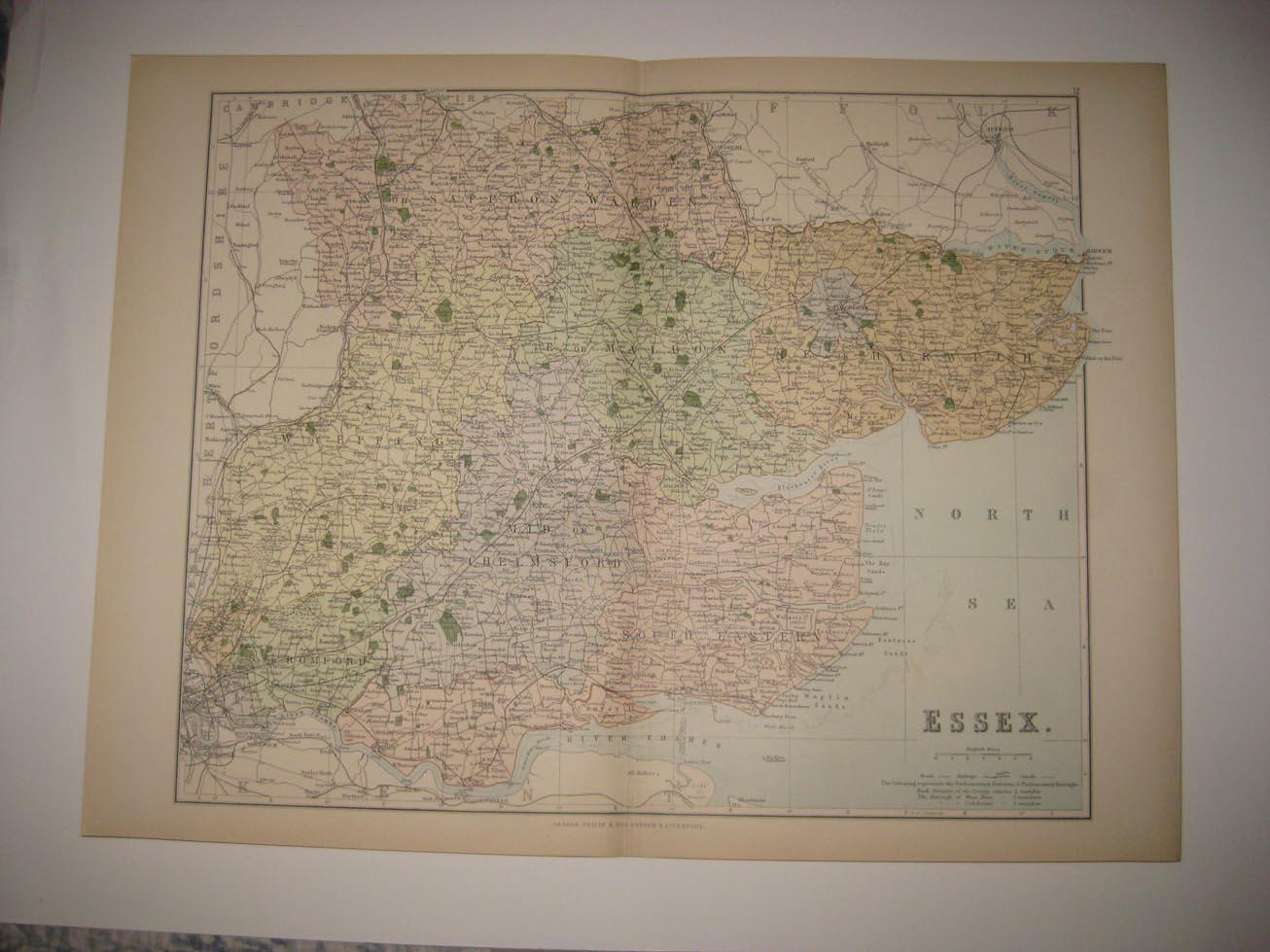 Superb Antique 1885 Essex Colchester London England Map Railroad Canal Rare Fine Ebay