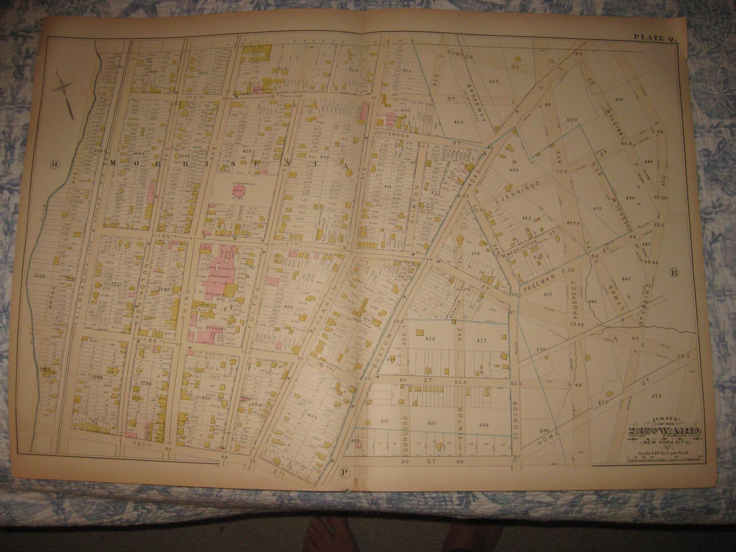 ANTIQUE 1882 23RD WARD MORRISANIA BRONX NEW YORK CITY