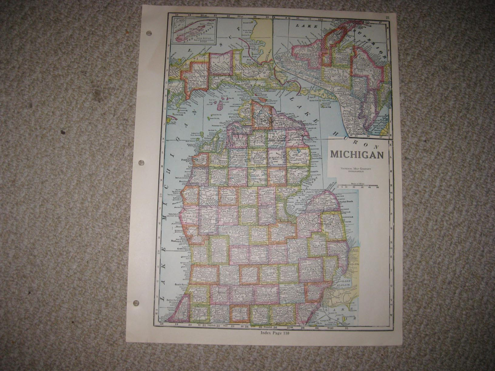 ANTIQUE 1928 MICHIGAN ILLINOIS HIGHWAY ROAD MAP ISLE ROYALE NORTHERN