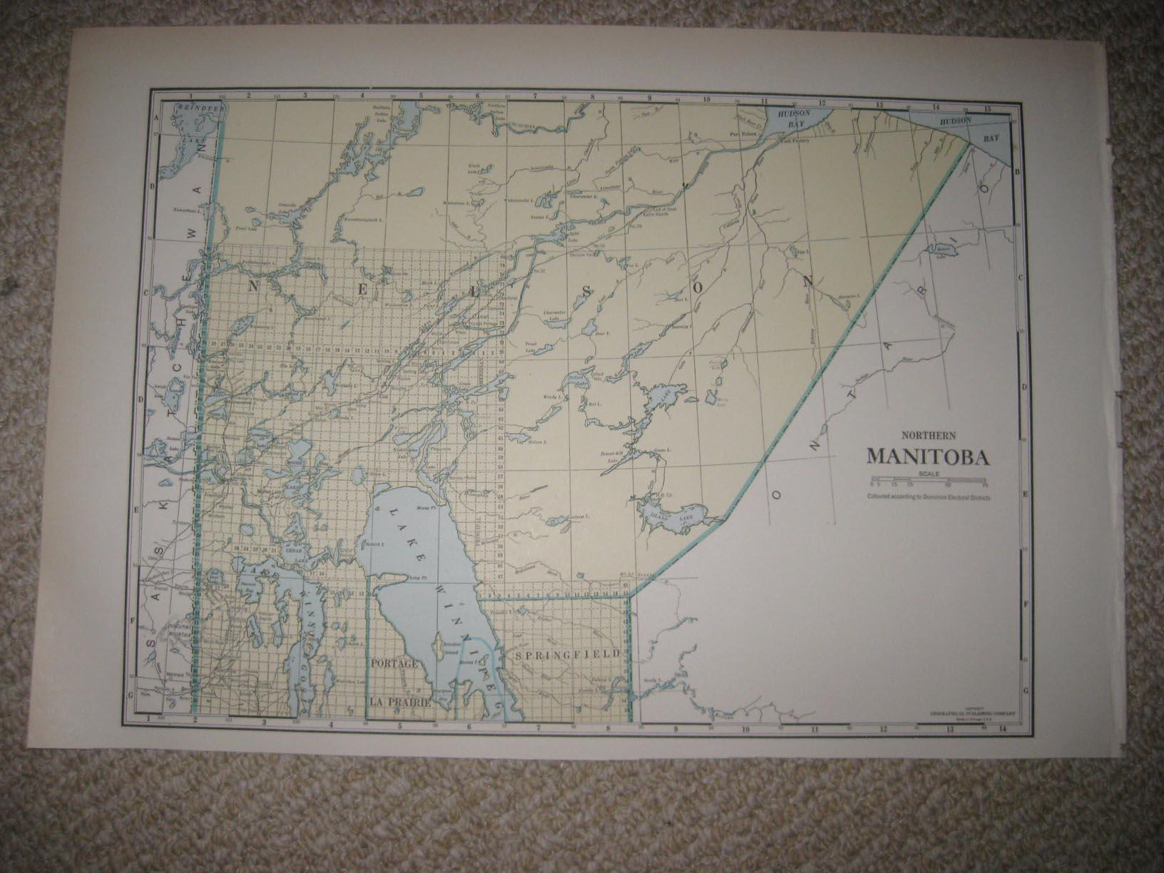 SUPERB RARE ANTIQUE 1930 NORTH NORTHERN MANITOBA CANADA MAP