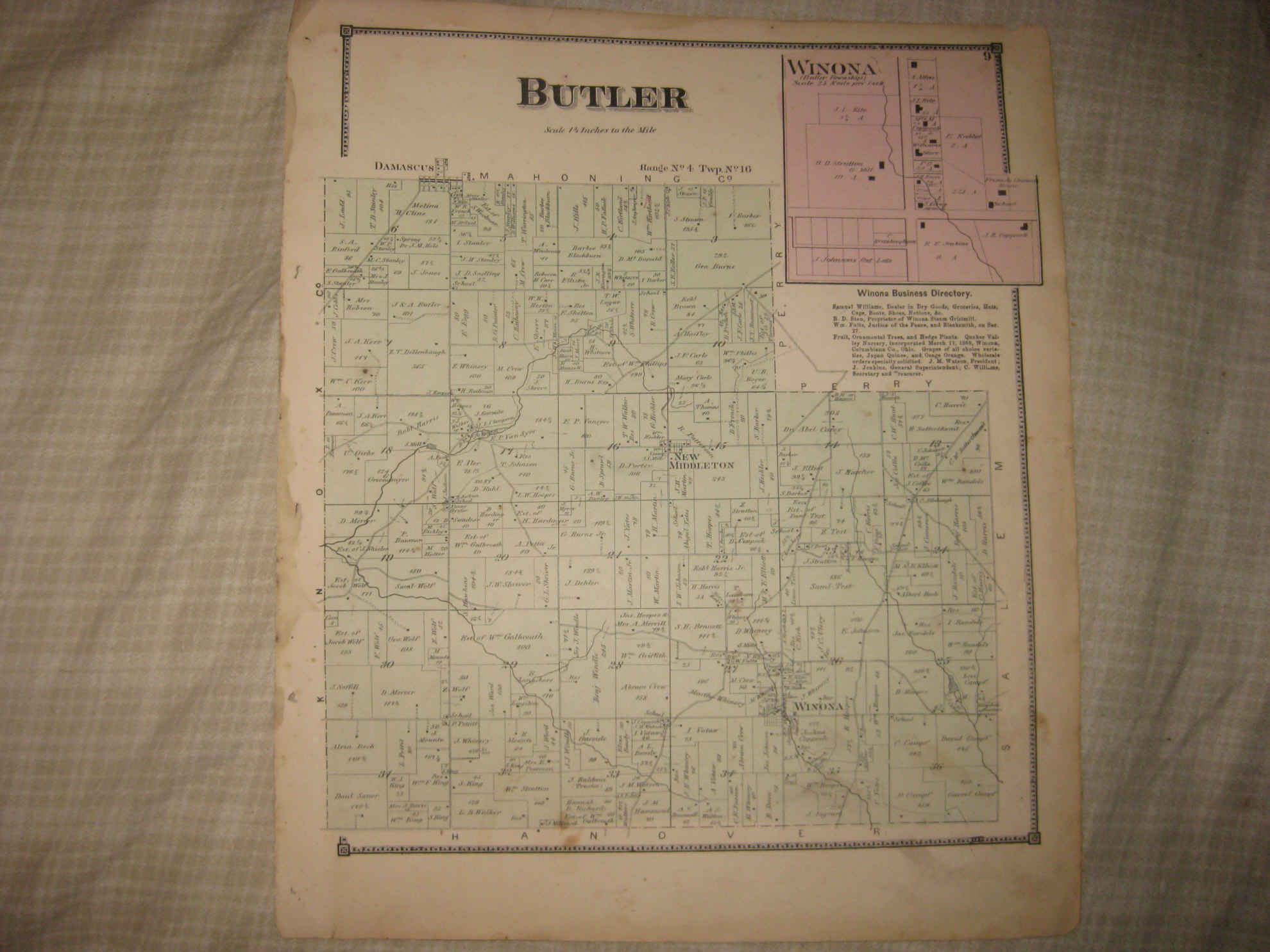 Antique 1870 Butler Township Winona New Middleton Columbiana County