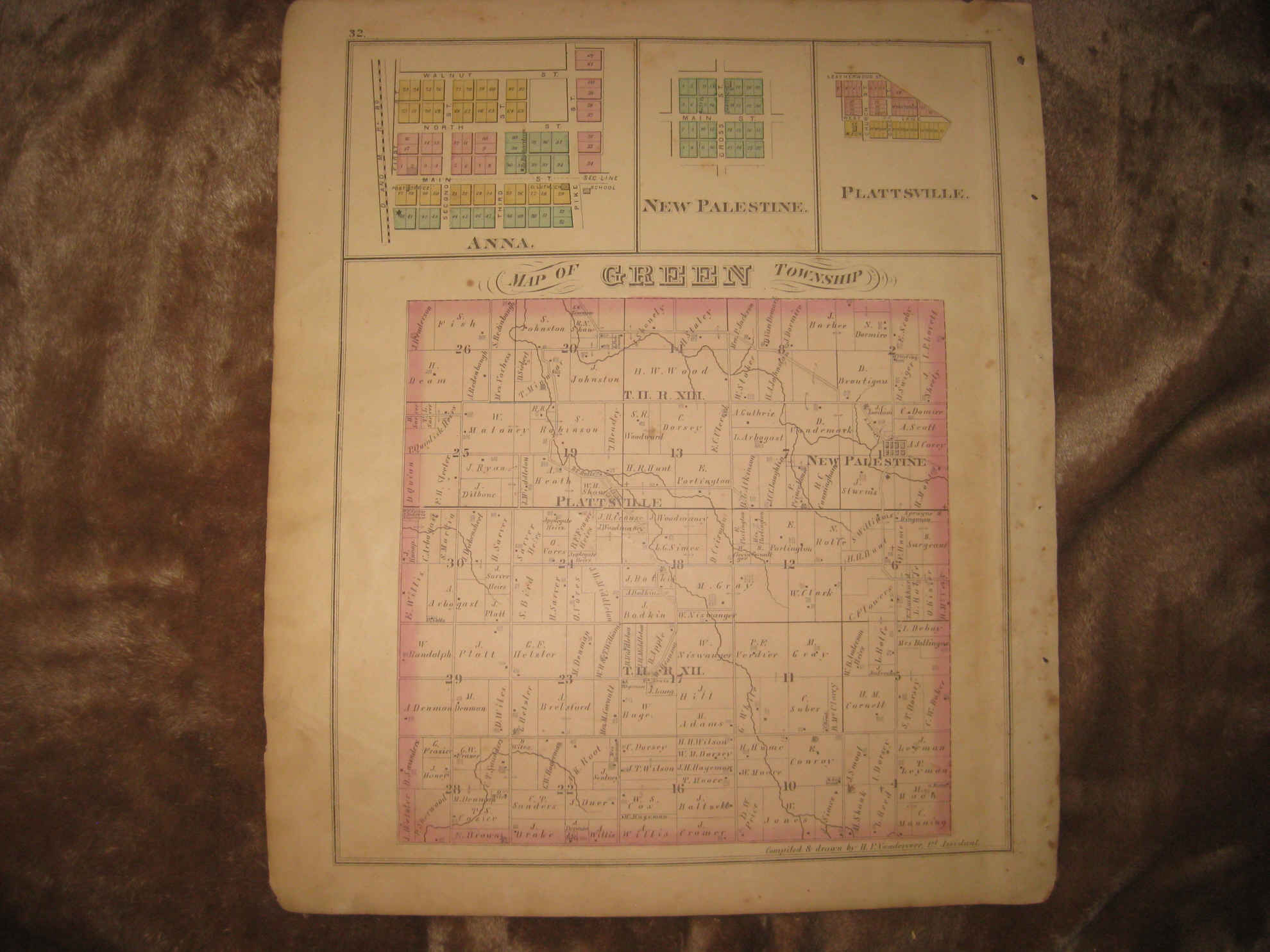 Antique 1875 Perry Green Township Pemberton Anna Shelby County Ohio