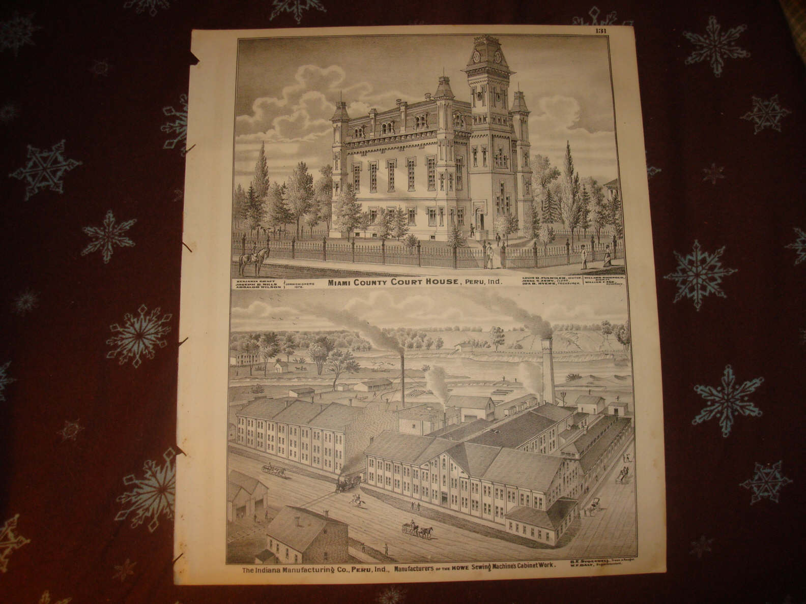 Howe Indiana Map.1876 Fayette Miami County Peru Indiana Antique Map Nr Ebay