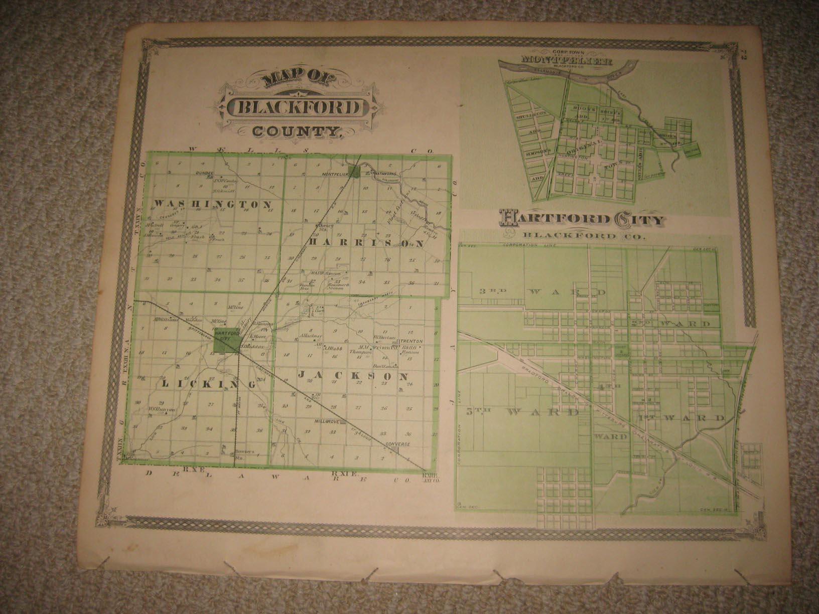 Fine Antique 1876 Blackford County Hartford City Montpelier Portland