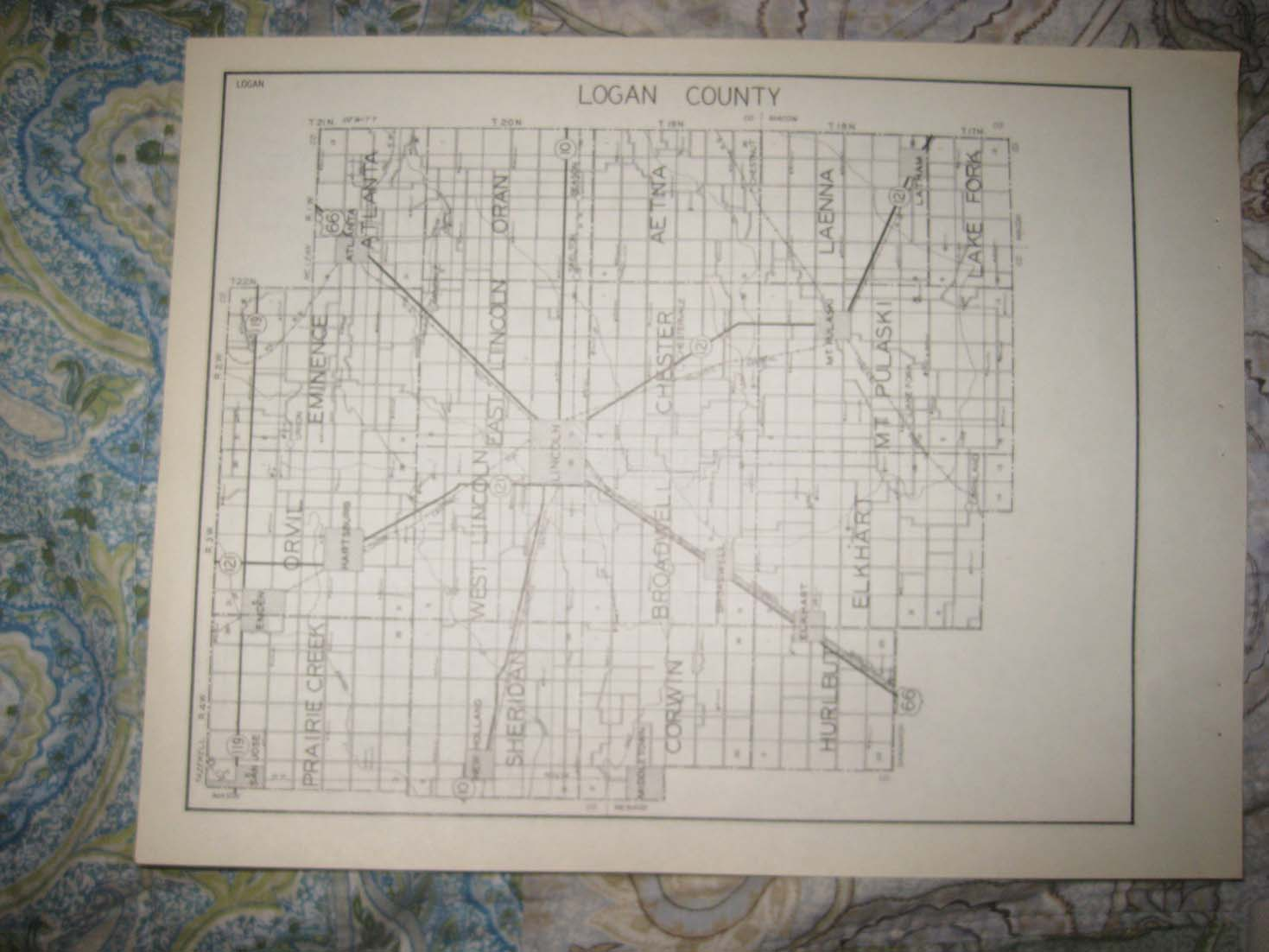 Antique 1931 Livingston Logan County Illinois Highway Road Map