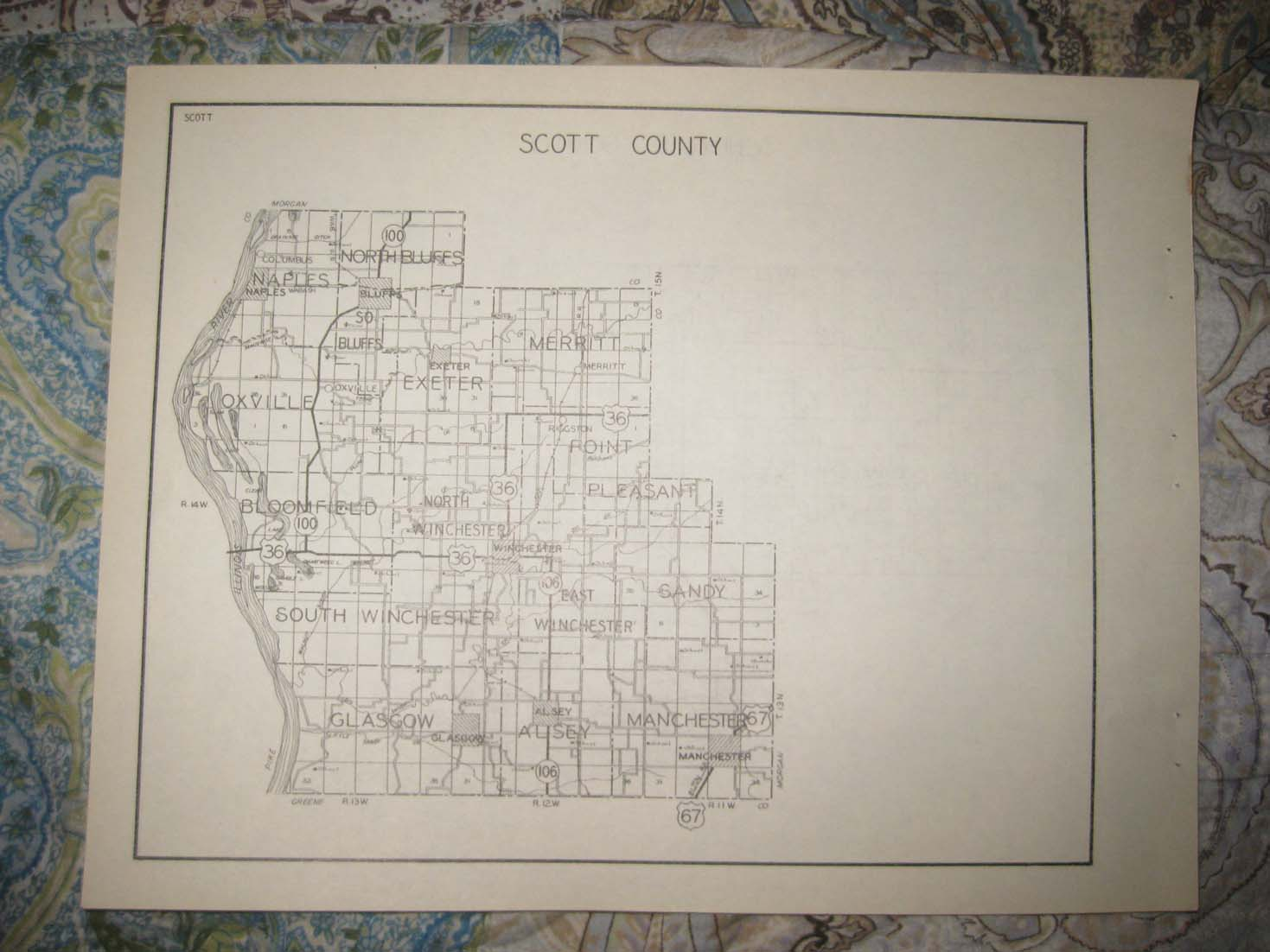 ANTIQUE 1931 SCHUYLER SCOTT COUNTY ILLINOIS HIGHWAY ROAD MAP ...