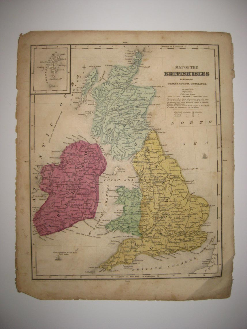 Map Of England Ireland Scotland Wales.Superb Antique 1844 England Ireland Scotland Wales British Shetland