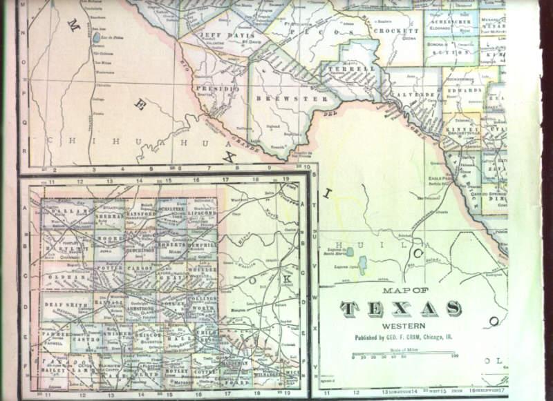 Map Of Western Texas.1895 Antique Map Western Texas Arkansas Railroad Nicenr Ebay