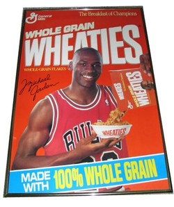 34eacb1032cc Vintage C 1990 Michael Jordan Wheaties Advertisement Poster Framed .