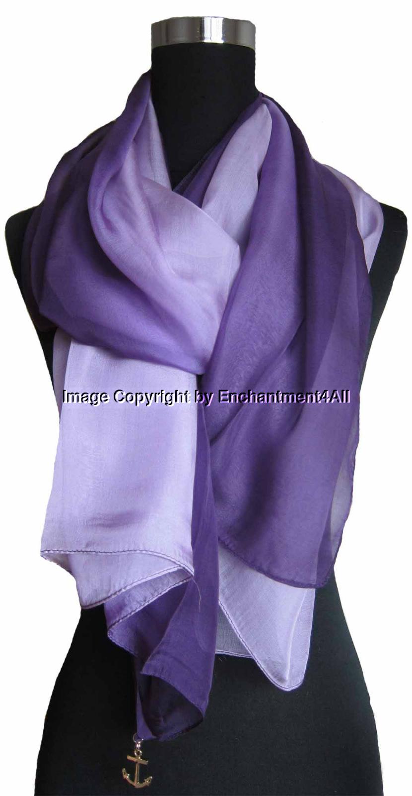 Shaded Blue New Shaded 100/% Pure Silk Oblong Scarf Shawl Wrap