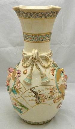 Big Japanese Makuzu Kozan Style Satsuma Vase Signed Ebay