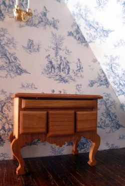 RARE Deadstock Vintage TYNIETOY LOWBOY Chest Dollhouse Miniature Natural Finish
