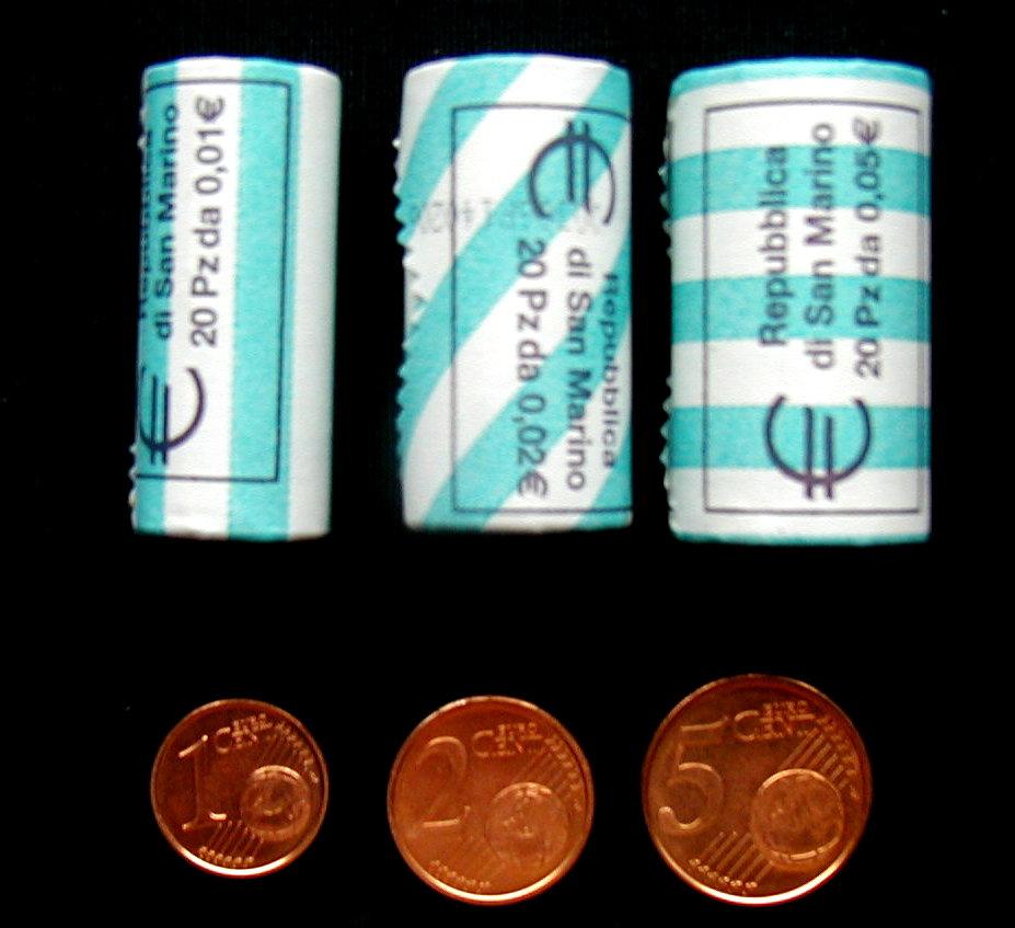 3 coins San Marino euro set 1-5 cents 2006 UNC