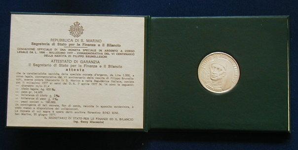 1977 SAN Marino silver coin 1000 Lire UNC Brunelleschi in official box Italy