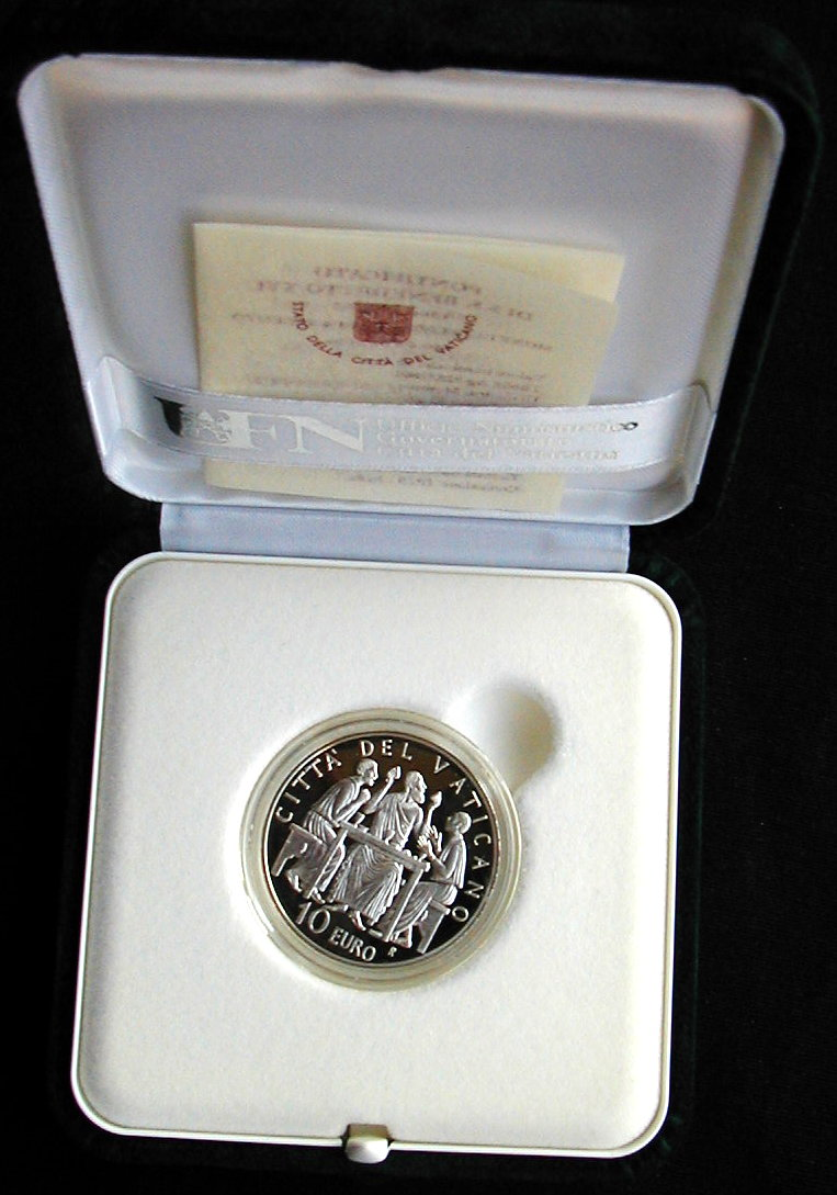 2005 Vatican Italy RARE silver coin PROOF 5 Euro 60th End WWII War Benedetto XVI