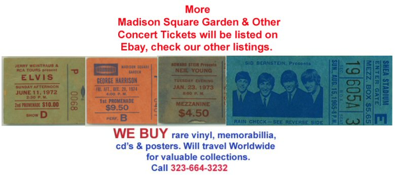 George harrison 1974 unused concert ticket msg beatles ebay - Paul mccartney madison square garden tickets ...