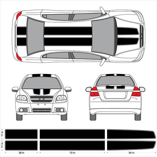 Chevy Aveo Sonic Trax Ez Rally Racing Stripes 3m Vinyl