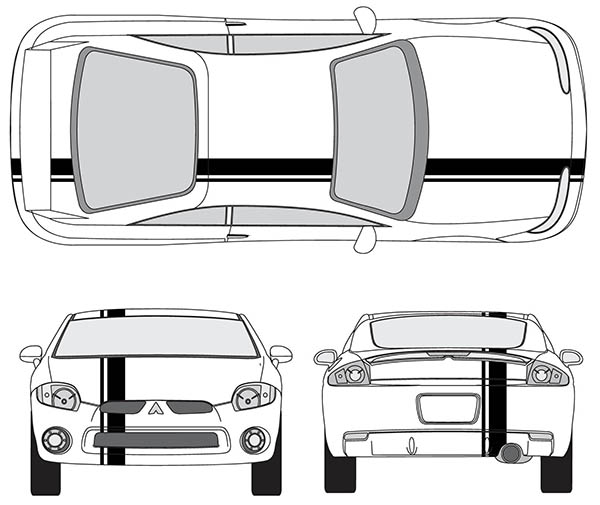 Pontiac Sunfire or Solstice Single Offset Rally Racing Stripes 3M Stripe Decals