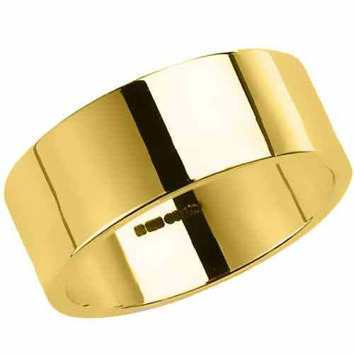 ... Poinçonnée 18 Carats Or Jaune Anneau Bague Mariage Plat Forme  eBay