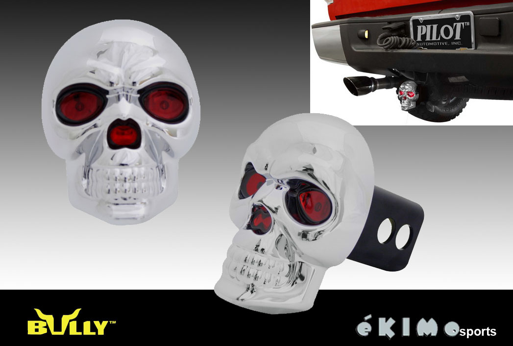 """SKULL 1.25"""" & 2"""" TRAILER TOWING HITCH RECEIVER COVER WITH"""