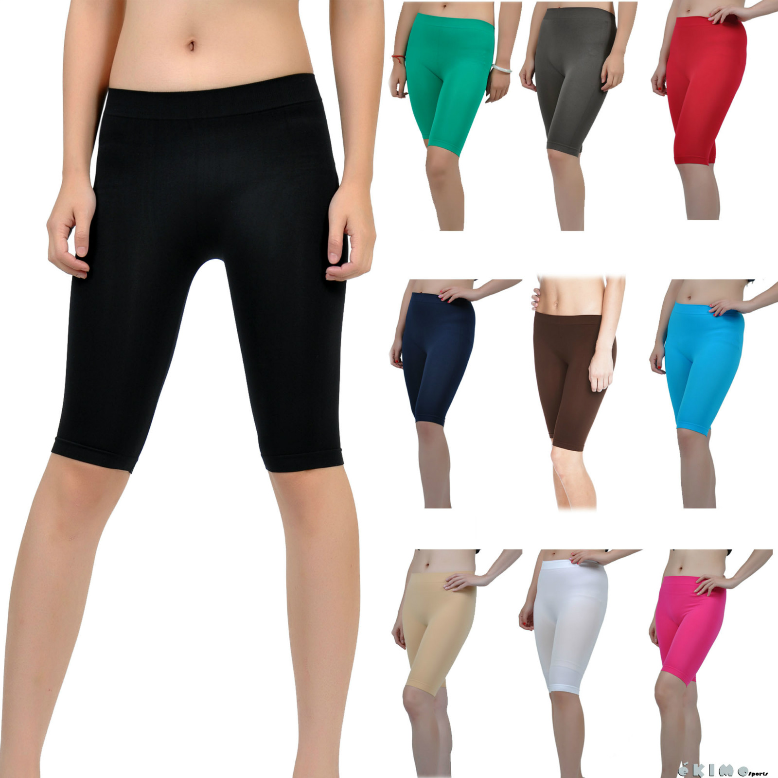 Seamless Stretch Bike Shorts Solid Colors Spandex Knee