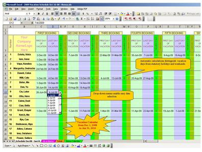 chico s paradise staff employee vacation scheduler planner free