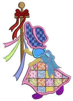 Sunbonnet Sue Redwork Machine Embroidery Designs by embroiderygirl