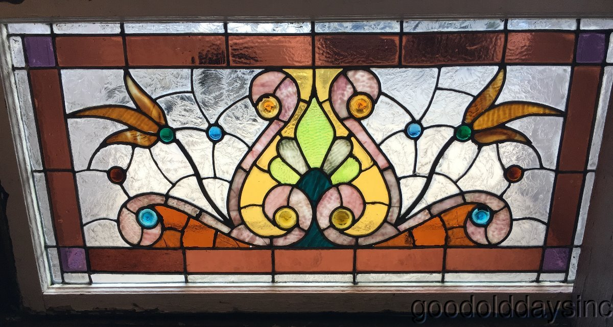 Antique 1890's Victorian Stained Leaded Glass Window