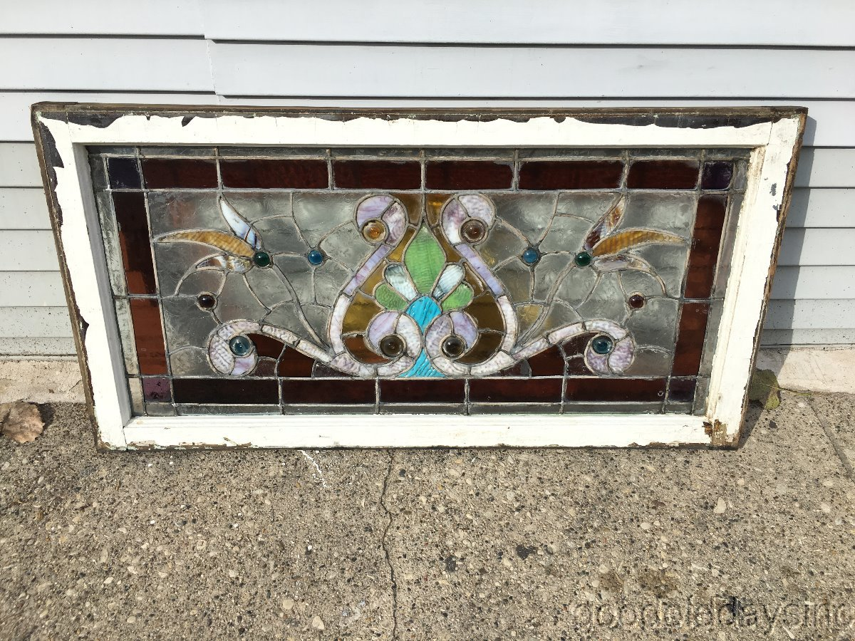 Antique 1890s Victorian Stained Leaded Glass Window
