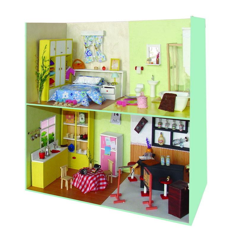 Sixrice Wooden Dollhouse Miniature Scene Diy Kits Study Room