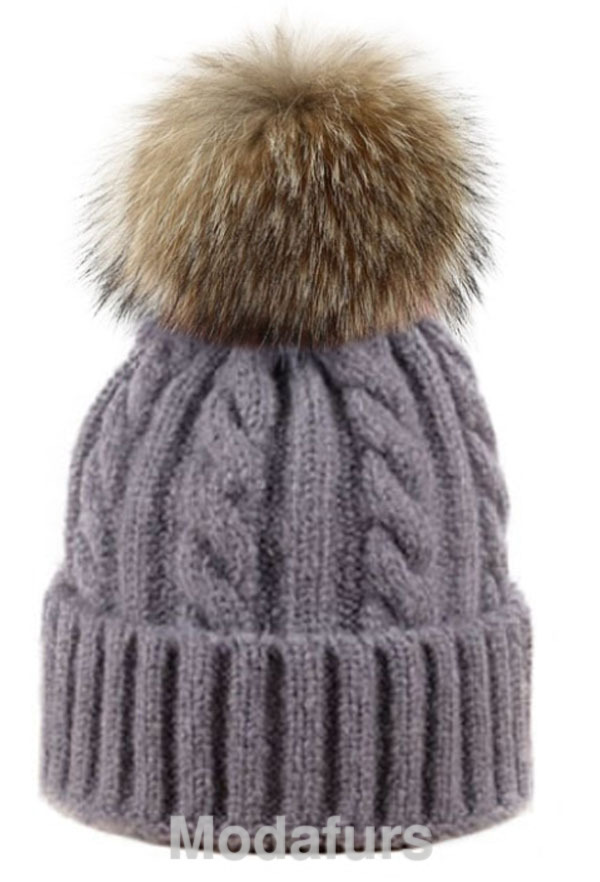 fb353db82e7 Details about Women s Brand New Gray Grey Cable Wool Knit Hat with Finn Raccoon  Fur Pom Pom