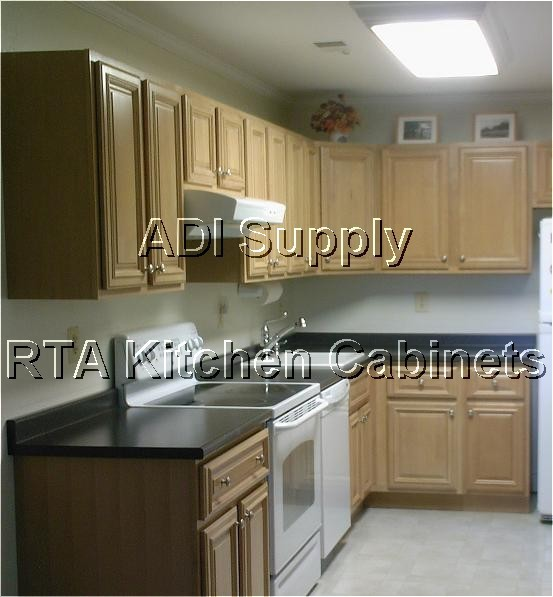 Granger54 all wood rta kitchen cabinets butter maple for Unassembled kitchen cabinets