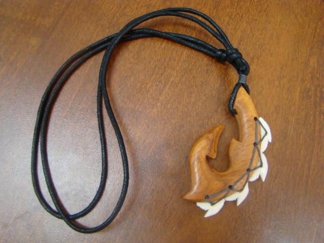 sharksteeth necklace hawaiian fish hook real shark