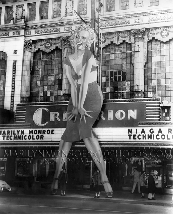 MARILYN MONROE 100ftall MOVIEMARQUEES (2) RARE 8x10 PHOTOS