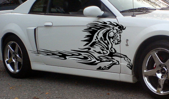 House Of Grafx Flaming Horse Side Graphics Decal Decals