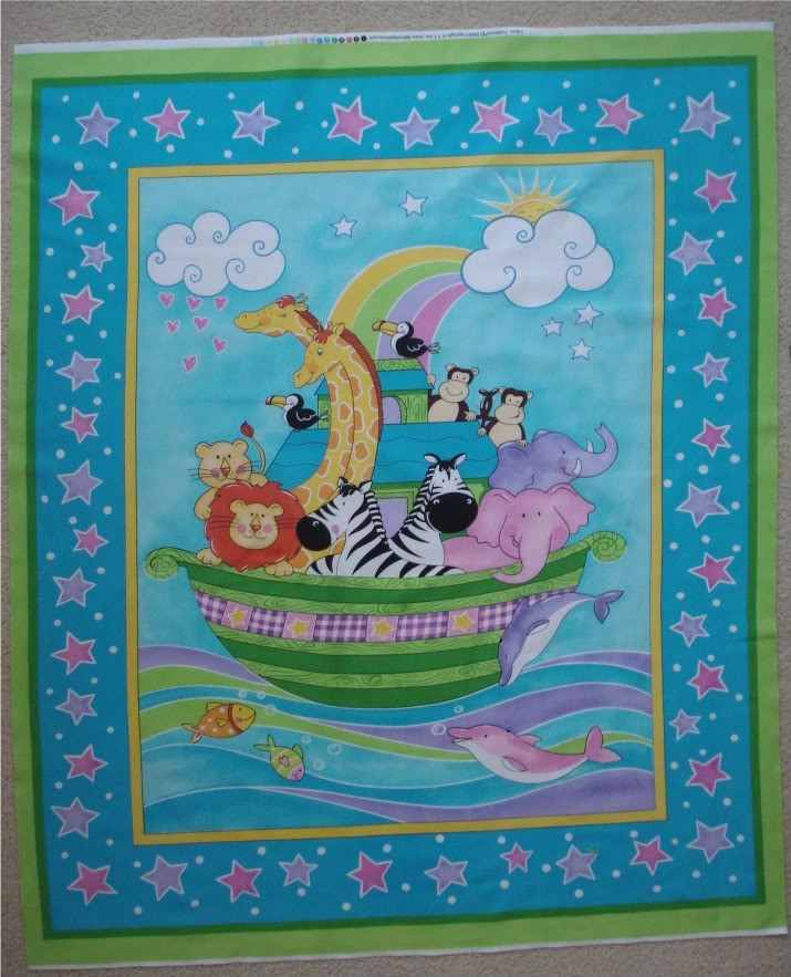 Lillysroom Cot Quilt Panel Colourful Noah S Ark By