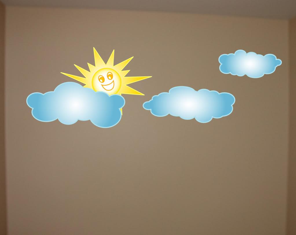 Clouds And Sun Wall Decal Deco Vinyl Art Sticker Mural