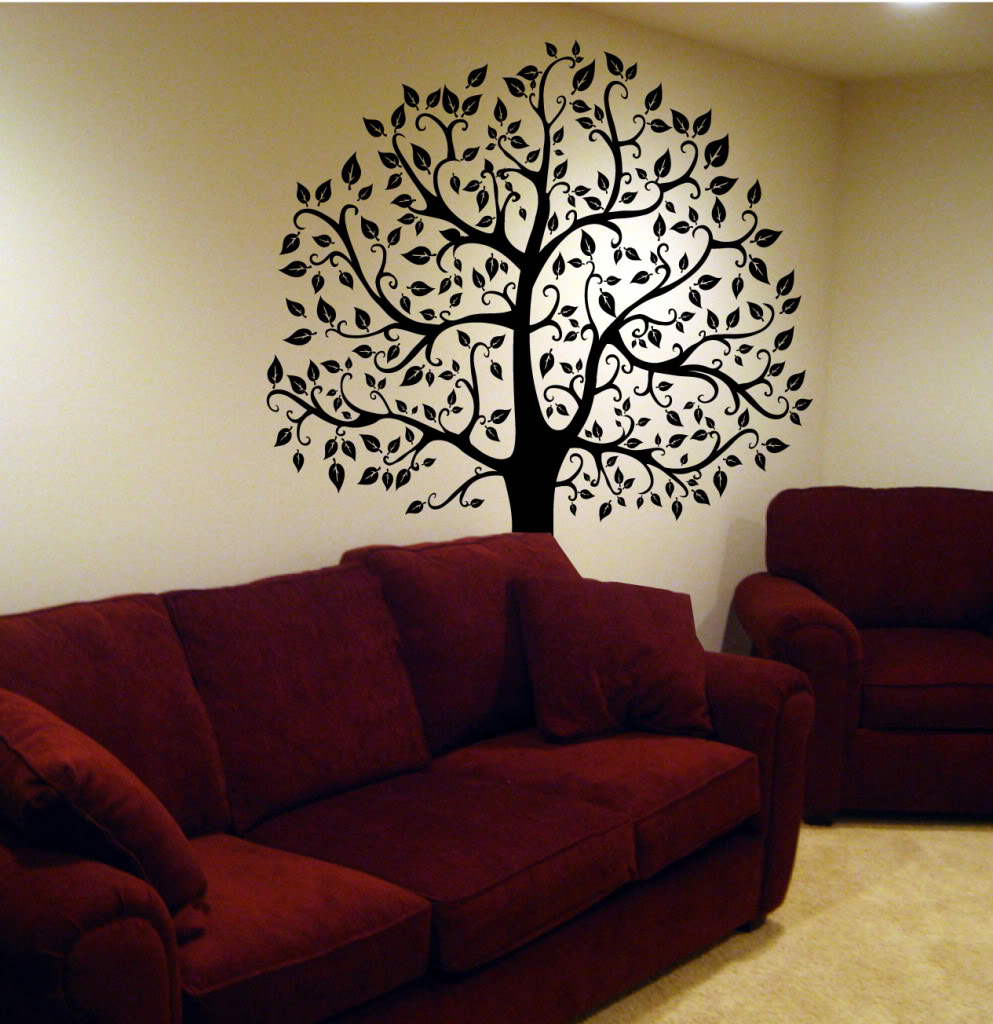 Wall decal tree branch birds leaves art sticker mural for Black tree mural