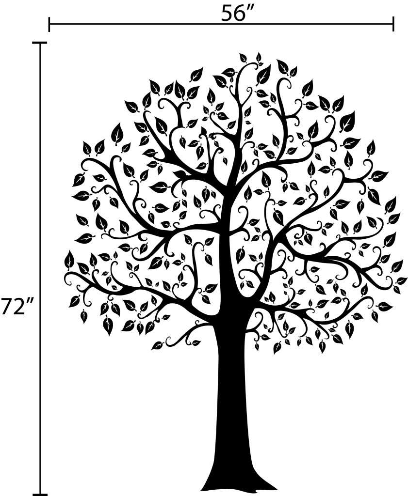6 ft big tree wall decal deco art sticker mural decals for Black and white tree mural