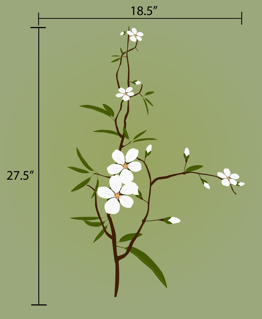 decals by digiflare flower branch wall decal deco white flower vinyl wall decals stickers furniture living