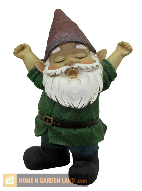 "Nome Garden: HOMENGARDENLAND : Gnome Nome Statue Figure 8"" 8 In Yawning"