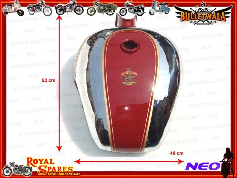 Customized Red Amp Chrome Royal Enfield Tank With Kneepad