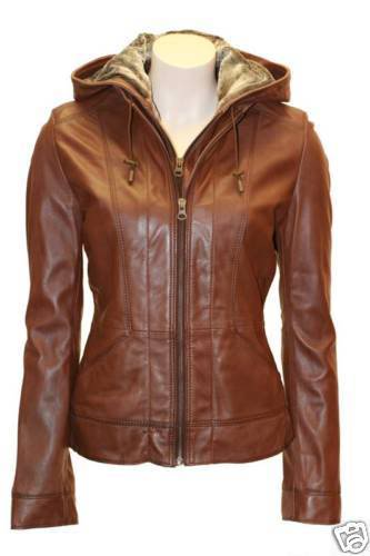 Images of Leather Jacket With Hood Womens - Reikian