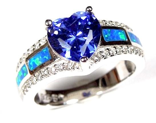 Size 8 14 Blue Fire Opal Tanzanite Rectangle  shape sterling silver ring